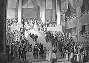 Coronation of Napoleon I, 2 December 1804.  Napoleon swearing the oath. Engraving.