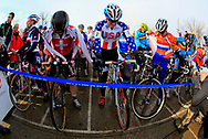 USA's Katherie Compton (7) lines up with other elite women during the UCI Cyclocross World Championships held at Eva Bandman Park in Louisville, Kentucky, on February 2, 2013. Compton podiumed in the competition placing second. © Dan Henry / BiciPhoto.com