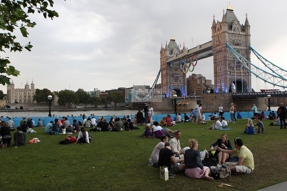 Fans look on from the Tower Bridge prior to the Opening Ceremonies for the Olympic Games in London, England  on July 27, 2012..(Jed Jacobsohn/for The New York Times)....