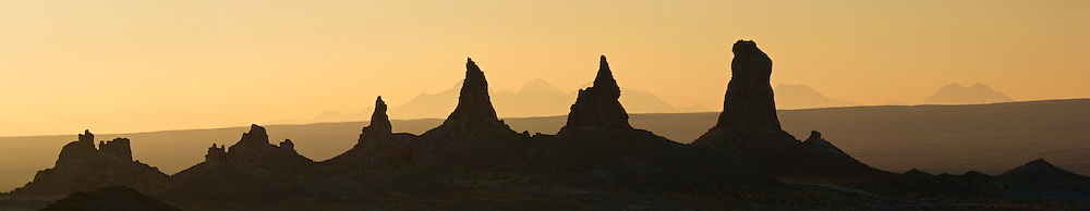 Panorama of Sunrise light and Tufa rock formations at the Trona Pinnacles, California