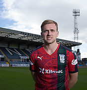 Greg Stewart wears Dundee's Black Watch inspired 3rd kit ahead of the home match against Ross County - Dundee will wear the kit for the first time to commemorate the 100th Anniversary of the Battle of Loos, during which hundreds of Black Watch soldiers died<br /> <br />  - &copy; David Young - www.davidyoungphoto.co.uk - email: davidyoungphoto@gmail.com