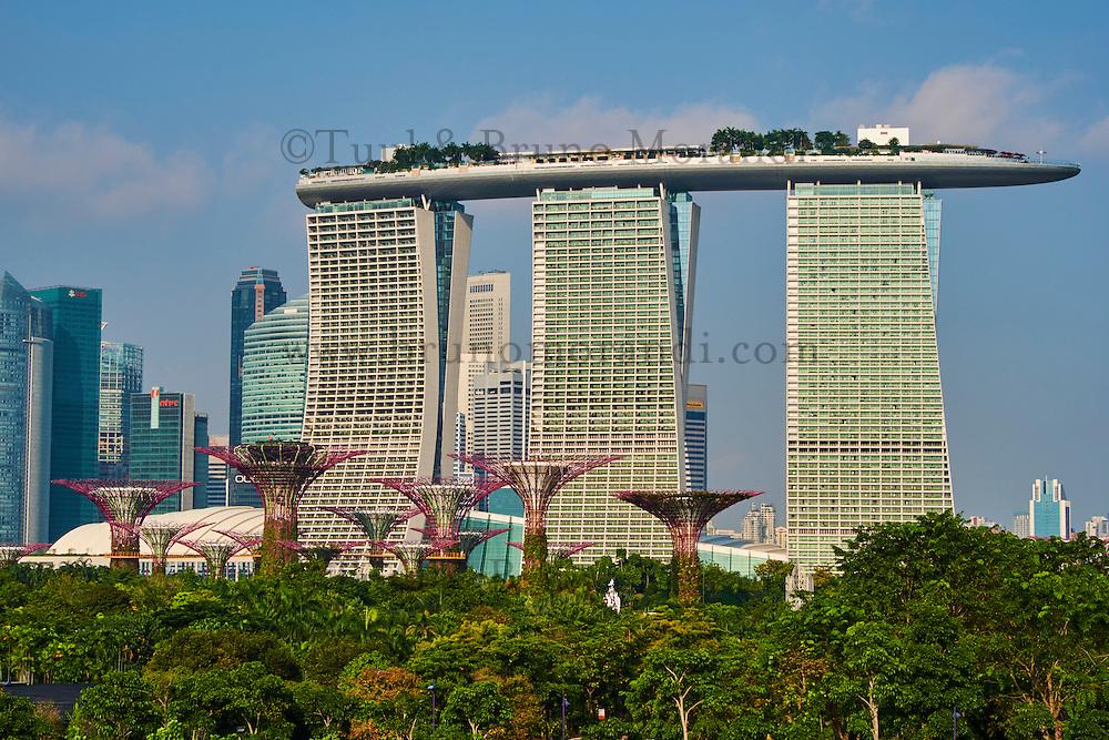 Singapour, Marina Bay, Garden By The Bay, le jardin botanique, Supertree Grove et l'hotel Marina Bay Sands // Singapore, Marina Bay, Garden By the bay, botanic garden, Supertree Grove and Marina Bay Sands hotel
