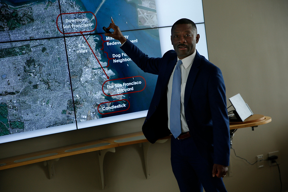 FivePoint vice president Kofi Bonner at the Hunters Point Shipyard, Wednesday, April 11, 2018, in San Francisco, Calif.