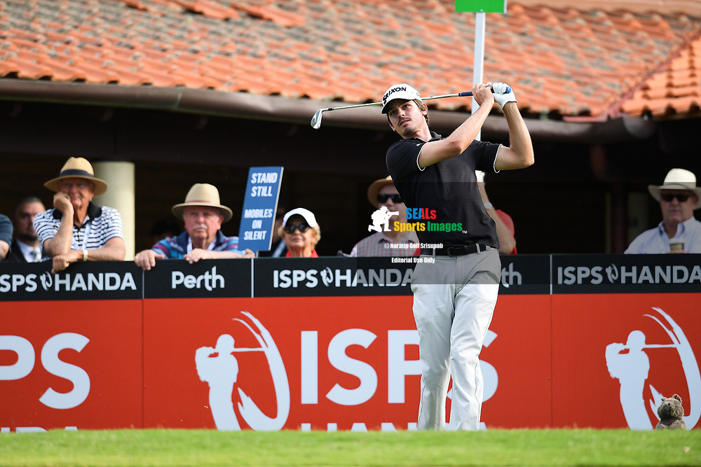 PERTH, AUSTRALIA - FEBRUARY 14: Pedro Figueiredo (POR) on the 1st tee during the 1st round of the ISPS Handa World Super 6, Lake Karrinyup Country Club, Perth, Western Australia, on February 14, 2019. <br /> .<br /> .<br /> .<br /> (Photo by: Naratip Golf Srisupab/SEALs Sports Images)<br /> .<br /> Any image use must include a mandatory credit line adjacent to the content which should read: Naratip Golf Srisupab/SEALs Sports Images