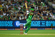 14th January 2019, Melbourne Cricket Ground, Melbourne, Australia; Australian Big Bash Cricket, Melbourne Stars versus Hobart Hurricanes;  Nic Maddison of the Melbourne Stars swings his bat at the ball