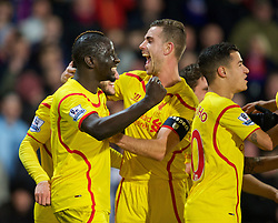 LONDON, ENGLAND - Saturday, February 14, 2015: Liverpool's Mamadou Sakho and Jordan Henderson celebrate their side's second goal against Crystal Palace during the FA Cup 5th Round match at Selhurst Park. (Pic by David Rawcliffe/Propaganda)
