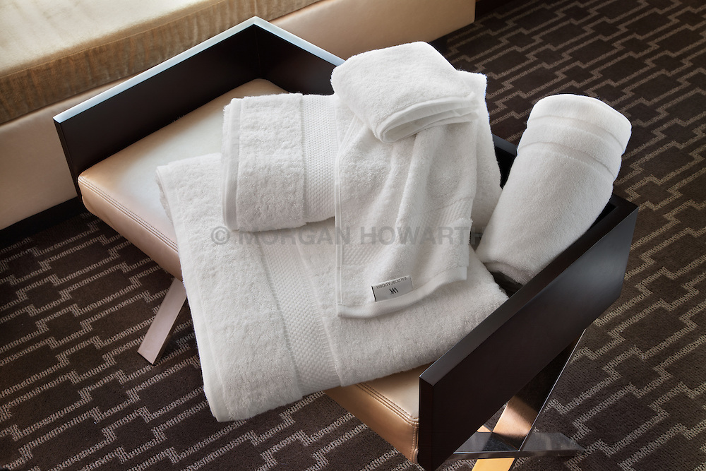 Marriott Hotel room side table with bath towel sets Monogram