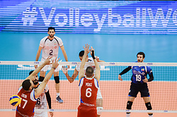 September 12, 2018 - Varna, Bulgaria - Farhad Ghaemi, Iran play the ball against Puerto Rico, during Iran vs Puerto Rico, pool D, during 2018 FIVB Volleyball Men's World Championship Italy-Bulgaria 2018, Varna, Bulgaria on September 12, 2018  (Credit Image: © Hristo Rusev/NurPhoto/ZUMA Press)