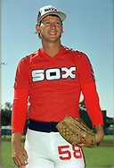 SARASOTA, FL - 1986:  Bobby Thigpen of the Chicago White Sox poses for a photo prior to a major league baseball spring training game at Payne Park in Sarasota, Florida prior to the 1986 season.  (Photo by Ron Vesely)  Subject:   Bobby Thigpen