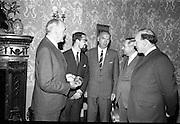 "17/07/1967<br /> 07/17/1967<br /> 17 July 1967<br /> ""Silver Bear"" award presentation at Iveagh House by Mr. Aiken to Mr. Louis Marcus. The award was won by the film Fleá Cheoil at the Berlin International Film Festival, directed by Louis Marcus. Image shows (l-r): An Tánaiste Frank Aiken; Mr. Louis Marcus; Mr. l. Toibin, Runaí, Roinn na Gaeltacht; Dr. Heinz Trutzschler von Falkenstein, Ambassador of the Federal Republic of Germany and Donall Ó Móráin, Gael-Linn."