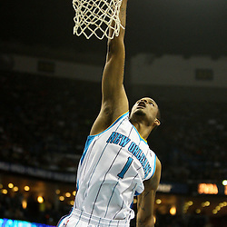 April 8, 2011; New Orleans, LA, USA; New Orleans Hornets small forward Trevor Ariza (1) dunks against the Phoenix Suns during the second quarter at the New Orleans Arena.  Mandatory Credit: Derick E. Hingle