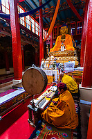 Monks chanting, Hemis Monastery, Ladakh, Jammu and Kashmir State, India.