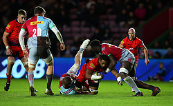 Andrew Durutalo of Worcester Warriors is tackled - Mandatory by-line: Robbie Stephenson/JMP - 12/11/2017 - RUGBY - Twickenham Stoop - London, England - Harlequins v Worcester Warriors - Anglo-Welsh Cup