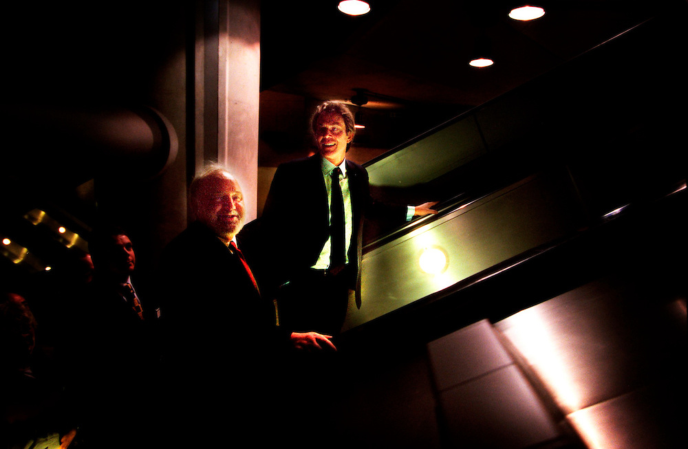 Frank Dobson MP and Tony Blair MP Prime Minister April 2000 on the Jubilee Line