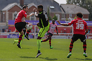 midfielder Matt Oakley competes with forward Vadaine Oliver during the Sky Bet League 2 match between Exeter City and York City at St James' Park, Exeter, England on 22 August 2015. Photo by Simon Davies.