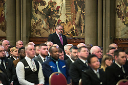 © Licensed to London News Pictures. 05/01/2018. Manchester, UK. PCSO JON MORREY receives a Highly Commended award . Police officers and railway workers who came to the aid of victims in the wake of the terrorist attack at an Arina Grande concert at the Manchester Arena in May 2017 are honoured at a commendation ceremony at the Great Hall at Manchester Town Hall. Amongst those honoured are officers from British Transport Police and Northern Rail staff . Photo credit: Joel Goodman/LNP