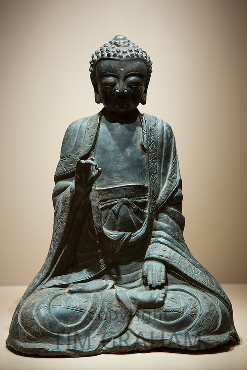 Buddha bronze statue 13th Century Chinese Yuan Dynasty in Manos Collection, Museum of Asian Art in Kerkyra, Corfu