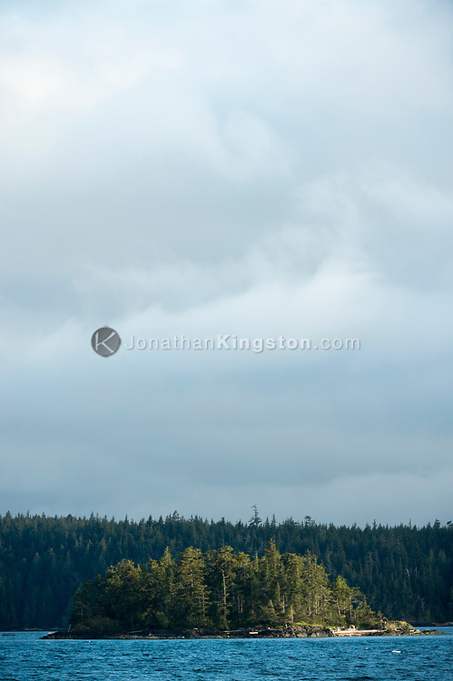 A small conifer covered island in the Inside Passage of British Columbia.