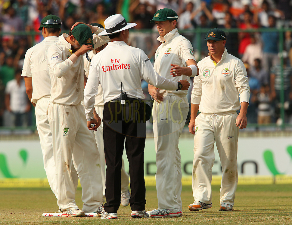Peter Siddle of Australia thanks the umpire during day 3 of the 4th Test Match between India and Australia held at the Feroz Shah Kotla stadium in Delhi on the 24th March 2013..Photo by Ron Gaunt/BCCI/SPORTZPICS ..Use of this image is subject to the terms and conditions as outlined by the BCCI. These terms can be found by following this link:..http://www.sportzpics.co.za/image/I0000SoRagM2cIEc