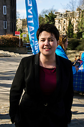 Pictured: <br /> <br /> Scottish Conservative leader Ruth Davidson visited Stockbridge in Edinburgh today as she continues o the campaign trail.<br /> <br /> Ger Harley | EEm 25 March 2016
