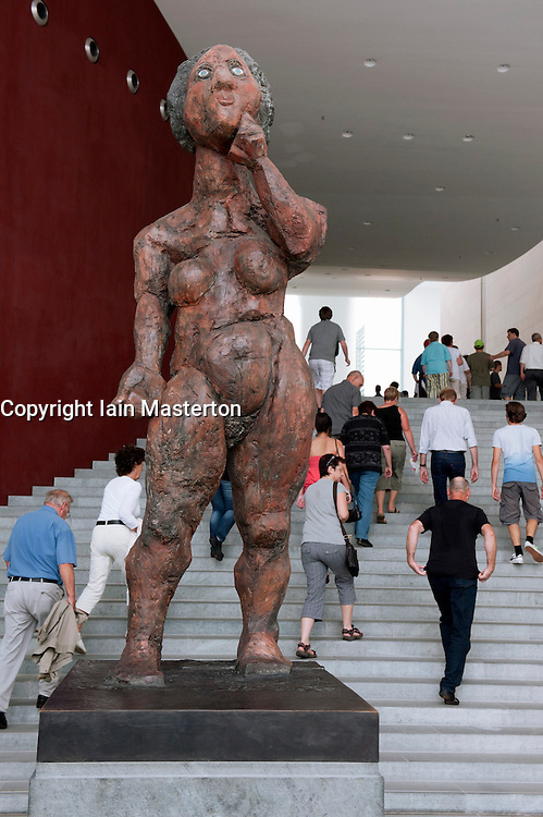 View of sculpture inside German Chancellor`s building the Bundeskanzleramt during Open Doors Day in Berlin Germany