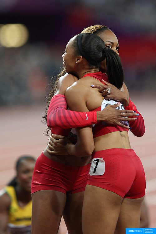 Allyson Felix, USA, (right), winning the Gold Medal in the  Women's 200m Final is congratulated by team mate Sanya Richards-Ross, USA, at the Olympic Stadium, Olympic Park, during the London 2012 Olympic games. London, UK. 8th August 2012. Photo Tim Clayton