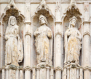 Medieval West Front Image screen stone carvings, Gothic architecture c 13th century, Exeter Cathedral church, Exeter, Devon, England, UK
