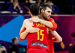 Joan Sastre of Spain celebrate during basketball match between National Teams of Germany and Spain at Day 13 in Round of 16 of the FIBA EuroBasket 2017 at Sinan Erdem Dome in Istanbul, Turkey on September 12, 2017. Photo by Vid Ponikvar / Sportida