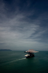 December 31 2008, Malaysia the Norwegian Heavylift Hawk from Ocean HeavyLift ASA in the strait of Melaka comming from China heading towards India