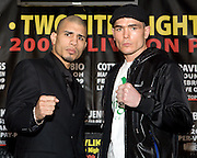Two-time world champion Miguel Cotto goes head to head with the highly-rated contender Michael Jennings during a press conference Saturday's WBO world championship fight at Madison Square Garden. 18th Feb 2009