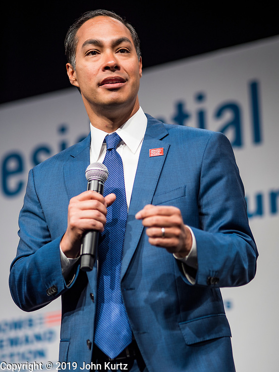 10 AUGUST 2019 - DES MOINES, IOWA: JULIÁN CASTRO, (D-TX), former Secretary of Housing and Urban Development during the Obama administration, a Democratic Presidential candidate, answers questions from gun violence survivors at the Presidential Gun Sense Forum. Several thousand people from as far away as Milwaukee, WI, and Chicago, came to Des Moines Saturday for the Presidential Gun Sense Forum. Most of the Democratic candidates for president attended the event, which was organized by Moms Demand Action, Every Town for Gun Safety, and Students Demand Action.              PHOTO BY JACK KURTZ