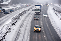 © Licensed to London News Pictures. 01/03/2018. Cardiff, UK.  M4, Cardiff Gate. Steady snow is giving way to blizzard conditions with the prospect of snowed in carriageways as Storm Emma begins to bite.   Photo credit: IAN HOMER/LNP