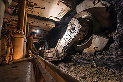 Underground coal face exhibition with machinery  at the  National Mining Museum at Newtongrange in Scotland, United Kingdom.