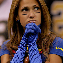 2009 October 18: New York Giants fan Reby Sky watches from the stands in the fourth quarter during a 48-27 win by the New Orleans Saints over the New York Giants at the Louisiana Superdome in New Orleans, Louisiana.
