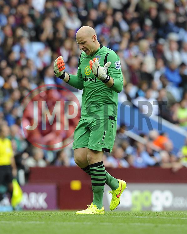 Aston Villa's Brad Guzan - Photo mandatory by-line: Joe Meredith/JMP - Mobile: 07966 386802 23/08/2014 - SPORT - FOOTBALL - Birmingham - Villa Park - Aston Villa v Newcastle United - Barclays Premier League