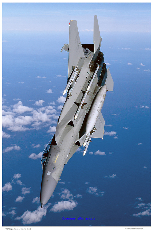 F-15A in a low roll, aerial