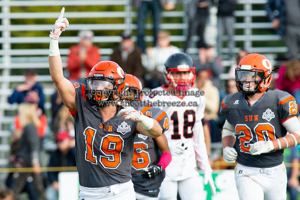 KELOWNA, BC - OCTOBER 6: Cole Stregger #19 of Okanagan Sun runs across the field against the VI Raiders at the Apple Bowl on October 6, 2019 in Kelowna, Canada. (Photo by Marissa Baecker/Shoot the Breeze)
