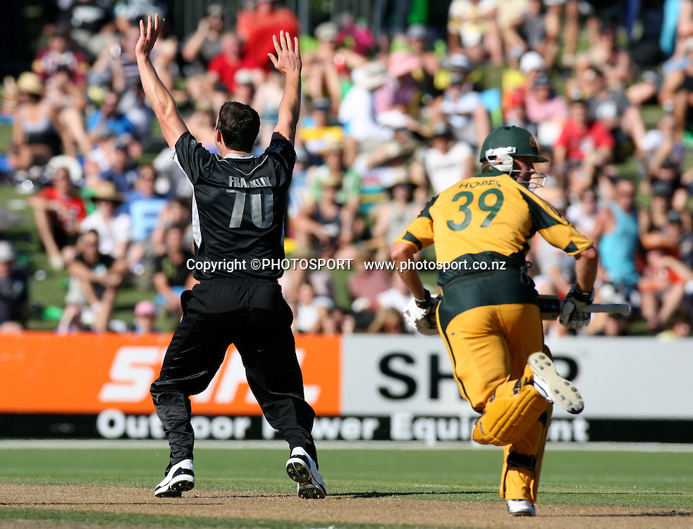 James Franklin appeals for a wicket.  New Zealand Black Caps v Australia. 1st ODI, Chappell-Hadlee Trophy Series. McLean Park, Napier. Wednesday 03 March 2010  Photo: John Cowpland/PHOTOSPORT