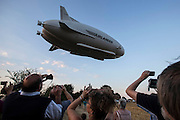 UNITED KINGDOM, Bedfordshire: 17 August 2016 The worlds largest aircraft known as the Airliner 10 takes off for it's first ever test flight at Cardington, Bedfordshire. The 300 foot long vessel was built by British aerospace firm Hybrid Air Vehicles. Rick Findler / Story Picture Agency