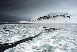 Fjord ice in Isfjorden, Svalbard, Norway