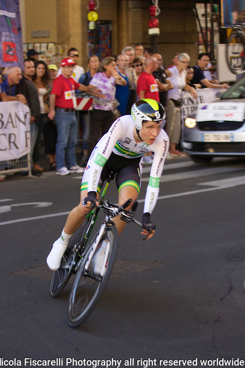 USI World Championship 2013 women's cycling race passes through the city streets of Florence Tuscany