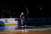 KELOWNA, BC - SEPTEMBER 21:  Devin Steffler #4 of the Kelowna Rockets enters the ice for home opener against the Spokane Chiefs  at Prospera Place on September 21, 2019 in Kelowna, Canada. (Photo by Marissa Baecker/Shoot the Breeze)