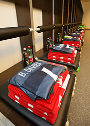 VIENNA, AUSTRIA - Thursday, October 6, 2016: The Wales grey kit laid out in the away dressing room ahead of the 2018 FIFA World Cup Qualifying Group D match against Austria at the Ernst-Happel-Stadion. (Pic by David Rawcliffe/Propaganda)