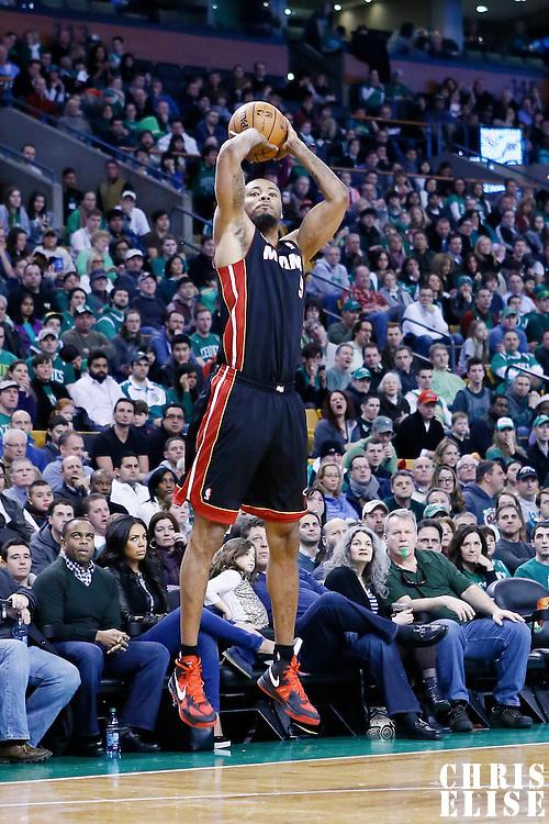 27 January 2013: Miami Heat power forward Rashard Lewis (9) takes a jumpshot  during the Boston Celtics 100-98  2OT victory over the Miami Heat at the TD Garden, Boston, Massachusetts, USA.