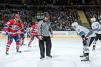 KELOWNA, CANADA - FEBRUARY 5: Kevin Crowell, linesman prepares to drop the puck between Curtis Miske #18 of Spokane Chiefs and Rodney Southam #17 of Kelowna Rockets on February 5, 2016 at Prospera Place in Kelowna, British Columbia, Canada.  (Photo by Marissa Baecker/Shoot the Breeze)  *** Local Caption *** Kevin Crowell; linesman; Rodney Southam; Curtis Miske;