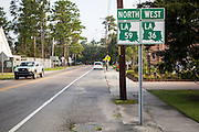 directional signs for Louisiana Highways 59 North and 36 West near the roundabout in Abita Springs, Louisiana