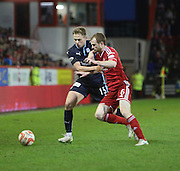Dundee's Greg Stewart battles for the ball with Aberdeen&rsquo;s Mark Reynolds -  Aberdeen v Dundee, SPFL Premiership at Pittodrie<br />