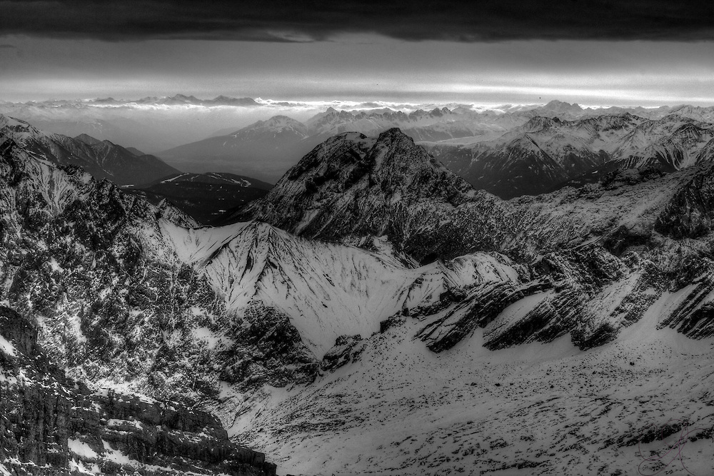 "The German Alps looking towards Austria from the Zugspitze (2962M/9700 Ft), the ""top of Germany"" (Black & White version)"