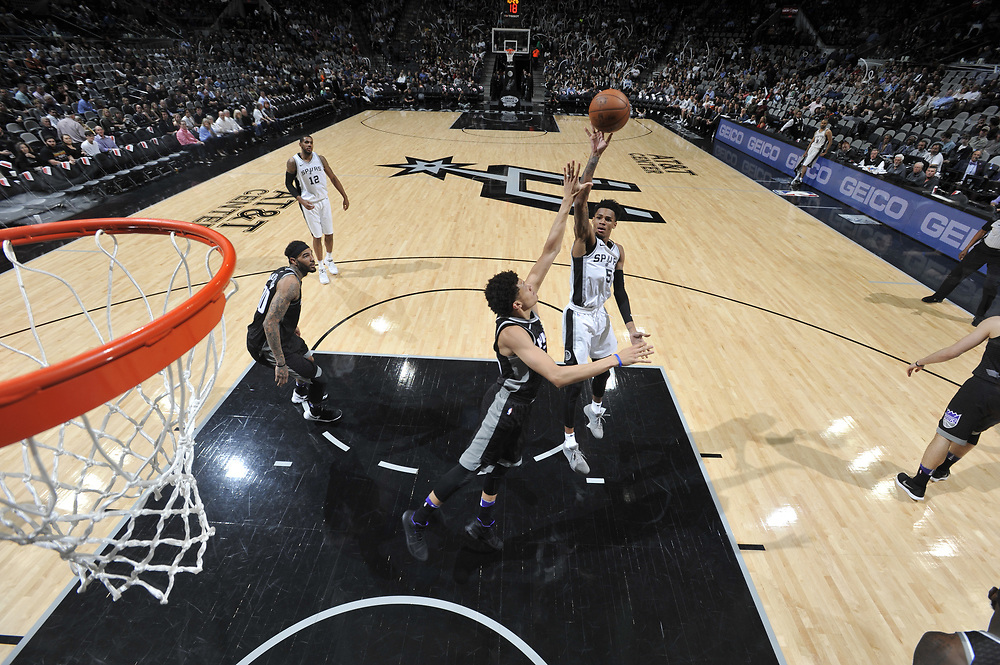 SAN ANTONI TX - April 9:   XXX of the San Antonio Spurs against the Sacramento Kings on April 9 at the AT&T Center in San Antonio, Texas.  NOTE TO USER: User expressly acknowledges and agrees that, by downloading and or using this photograph, User is consenting to the terms and conditions of the Getty Images License Agreement. Mandatory Copyright Notice: Copyright 2017 NBAE (Photo by Mark Sobhani/NBAE via Getty Images)