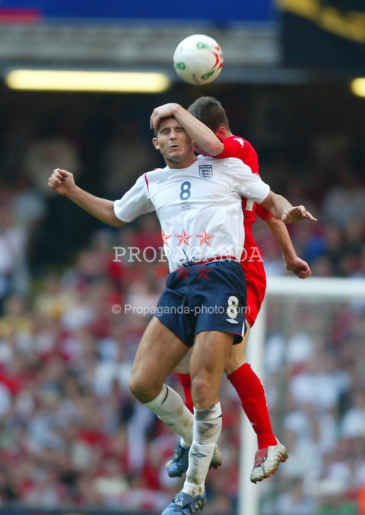 CARDIFF, WALES - SATURDAY, SEPTEMBER 3rd, 2005: Wales' Jason Koumas and England's Frank Lampard during the World Cup Qualifier at the Millennium Stadium. (Pic by Chris Brunskill/Propaganda)